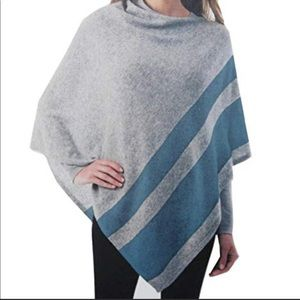 Celeste Cashmere Blend Poncho One Size Gray Blue